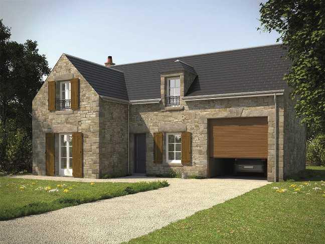 maison en pierre porte de garage enroulable
